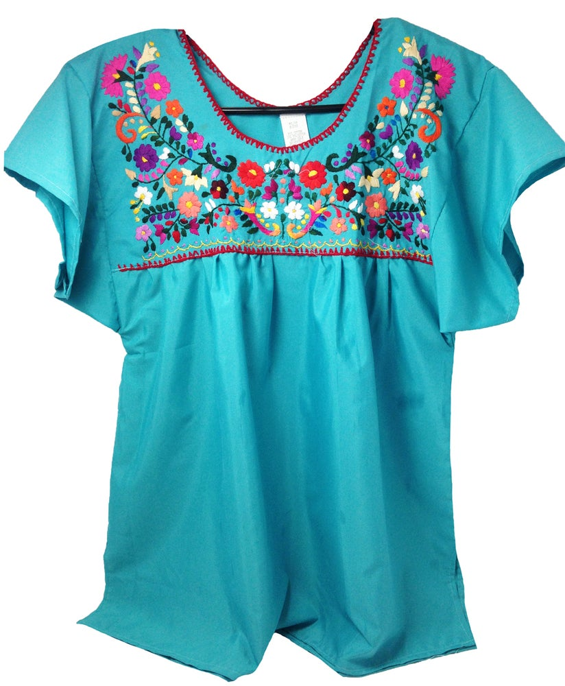 5dbc5103b19b89 Turquoise Mexican Embroidered Blouse-Small   Hello Zamora
