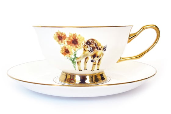 Image of Golden Fawn Tea Cup & Saucer Set
