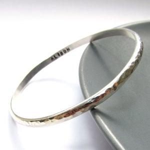 Image of Personalised Slim Silver Bangle