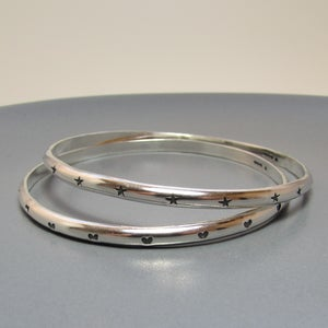 Image of Heart and Stars Silver Bangle
