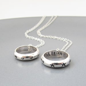 Image of Hearts or Stars Circle Necklace