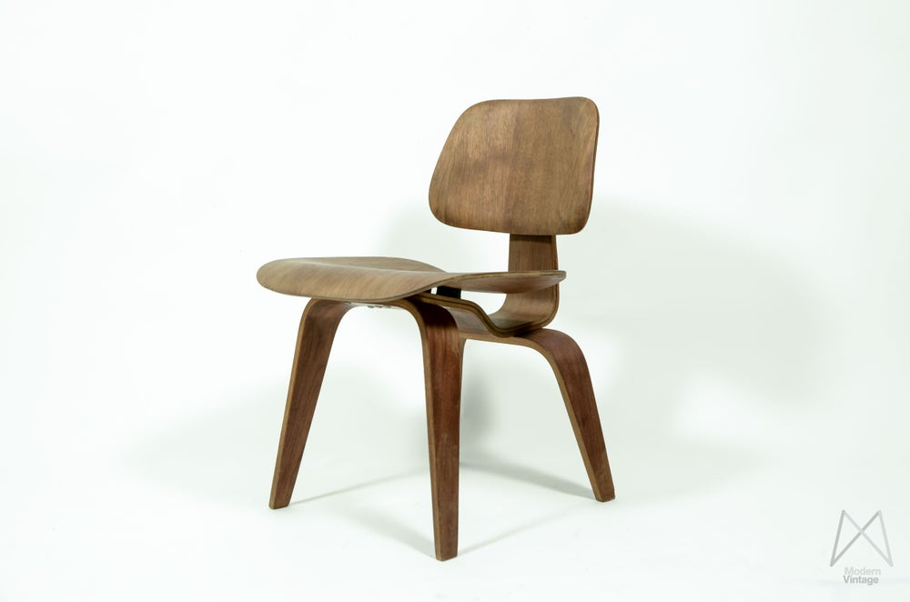 Image of Eames Evans DCW 1940s Mahogany Full Label Pre Herman Miller Collectors Item