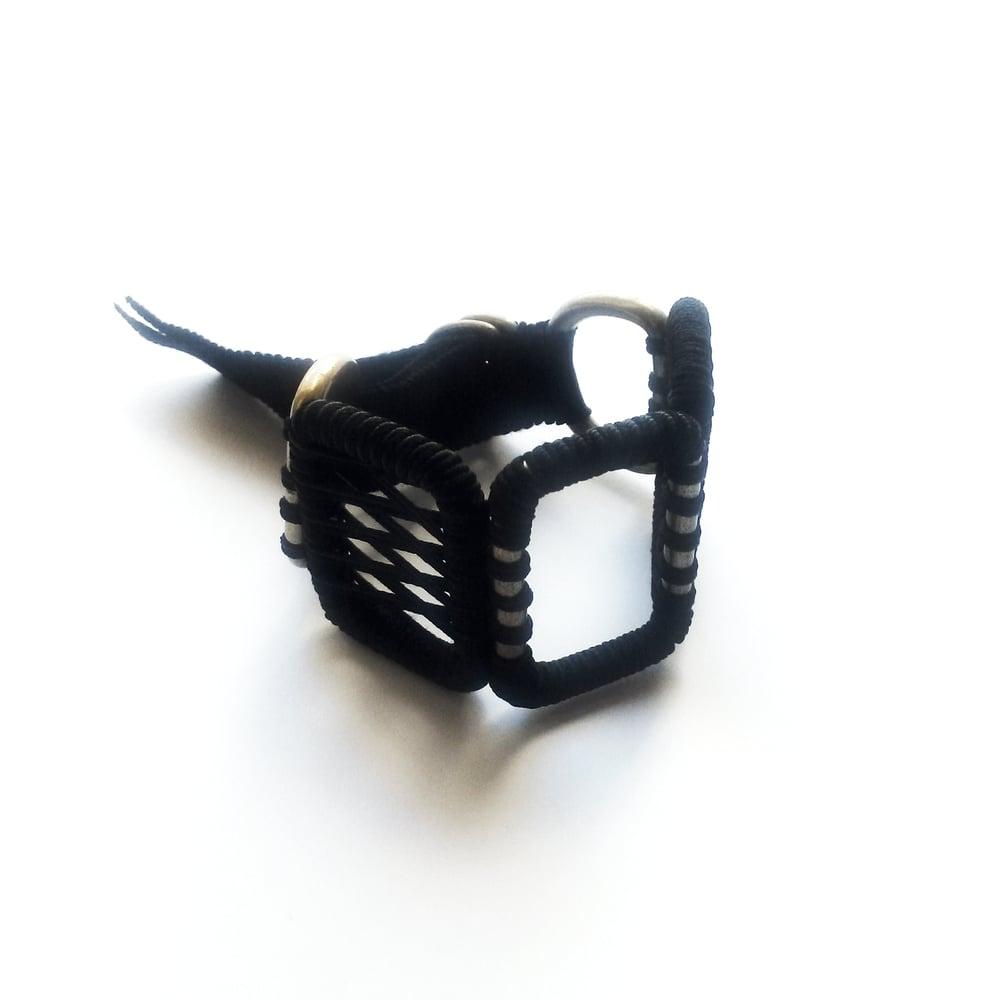 Image of medium woven bracelet #1041, color 10B (carbon/bronze)