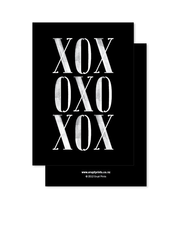 Image of Greeting Card - XOX - Black