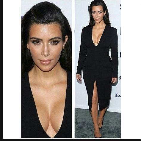 Image of V-NECK LOW-CUT BLACK DRESS