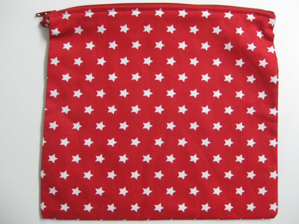 Image of Red with white stars (new large pouch)