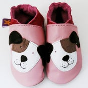 Image of Pink Pooch Leather Baby Shoes