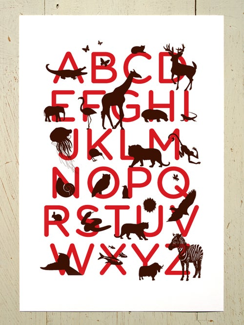 Image of Alphabet print for the nursery A3 art prints