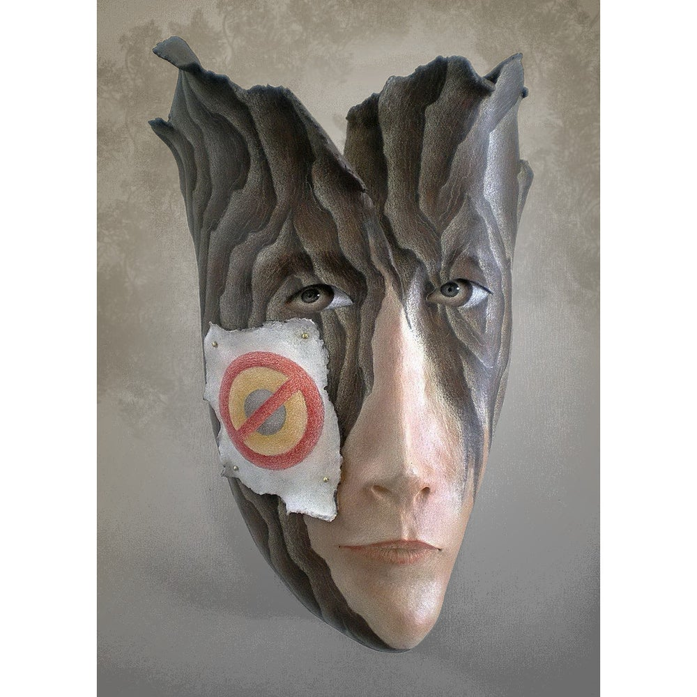 Image of No Trespassing - Mask Sculpture, Ceramic Wall Art, Original Mask Art