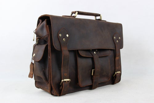 Image of 14'' Vintage Genuine Leather Briefcase, Messenger Bag, Laptop Bag 7200
