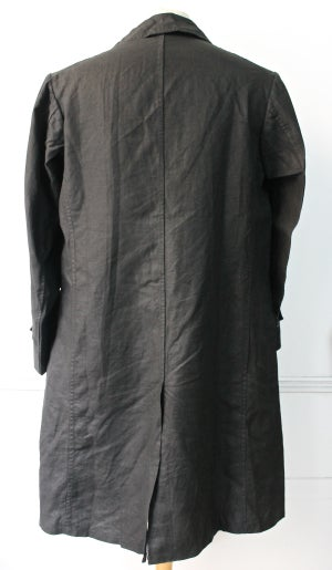 Image of 1920's FRENCH DARK INDIGO LINEN MAQUIGNON COAT