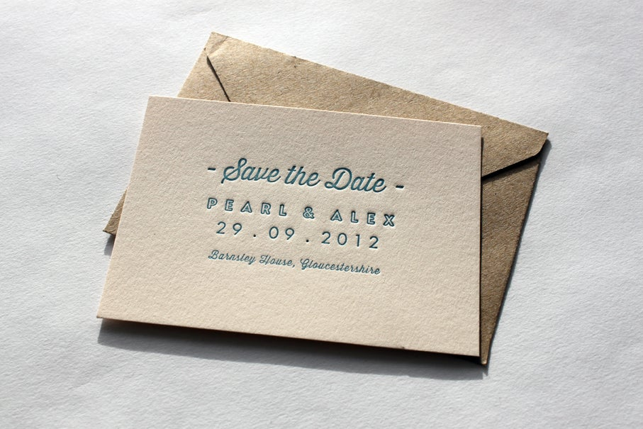 Image of Sample - Save the Dates & RSVP cards (letterpress printed)