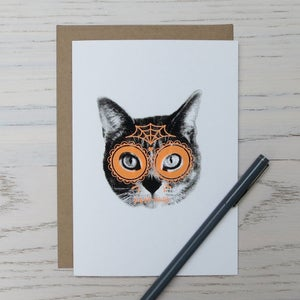 Image of gee whiskers series: day of the dead screenprinted notecard
