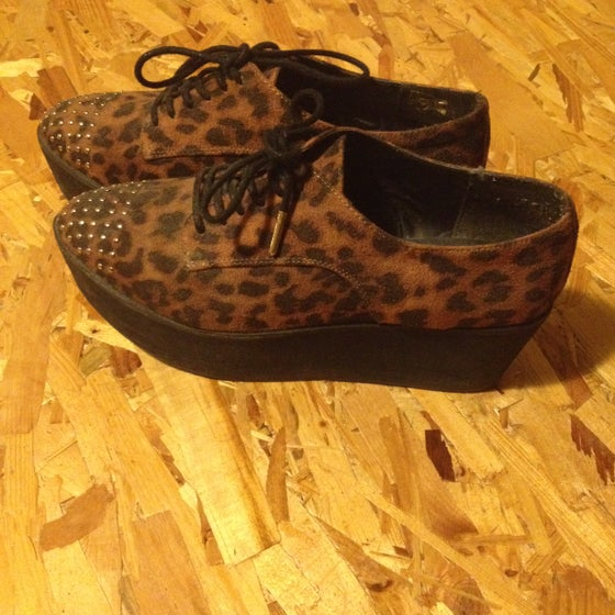 Image of Animal Print Lace Up Flatform