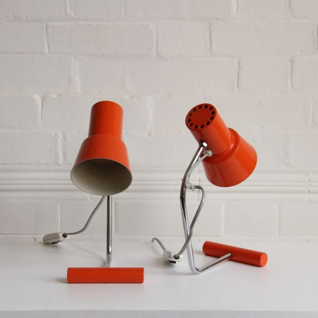 Image of Pair of Josef Hurka lights in orange