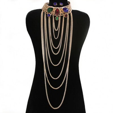 Image of Choker Chain Crystal Necklace Set
