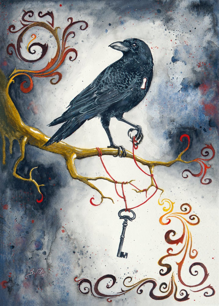 Image of Heart Strings & Raven Wings - Giclee Fine Art Print, Black Bird