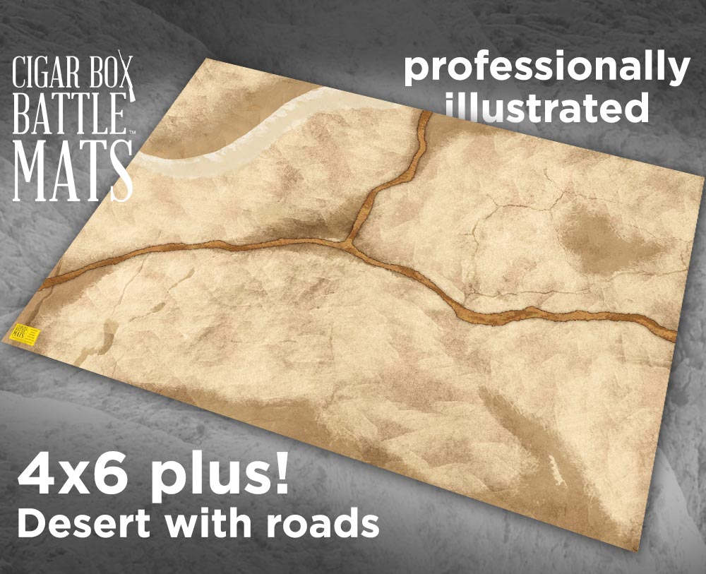 Image of Desert Gaming Battle Mat with Roads --  4'x6' plus  -- #103