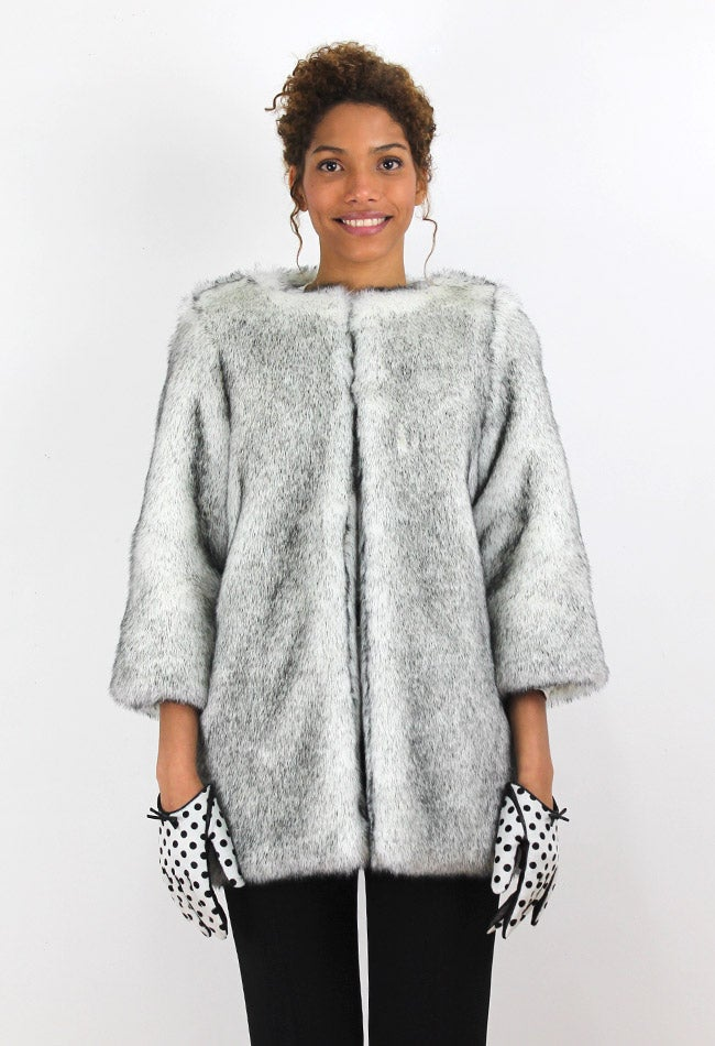 Image of SILVER FAUX FUR COAT
