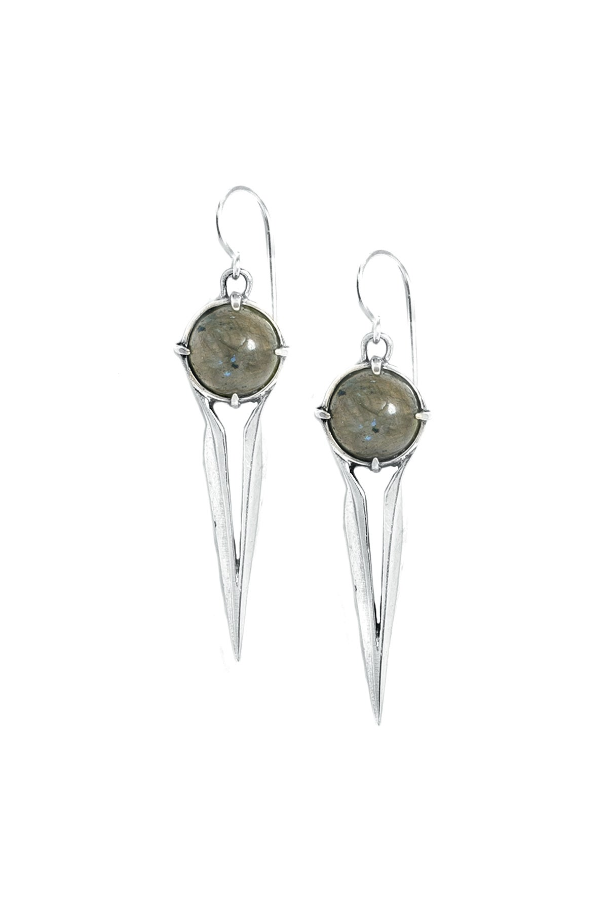 Image of LABRADORITE FALCON EARRINGS - SILVER