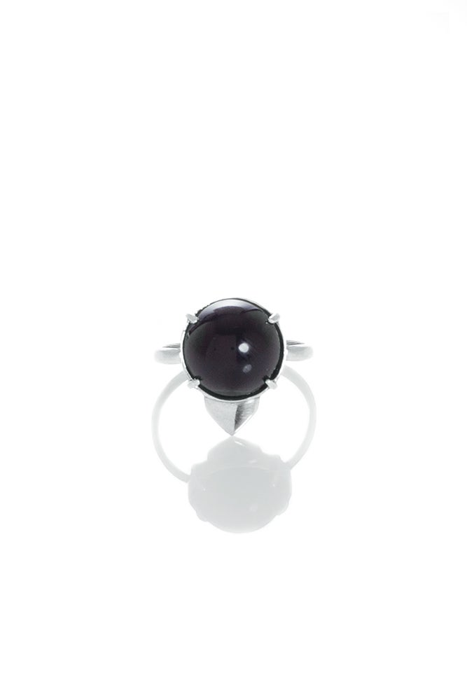 Image of ONYX OWL RING - SILVER