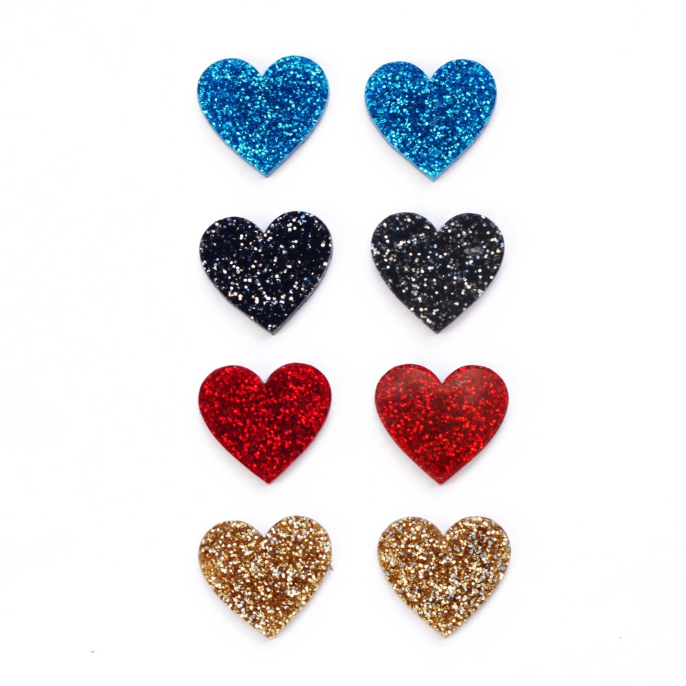 Image of Glitter Heart Stud Earrings