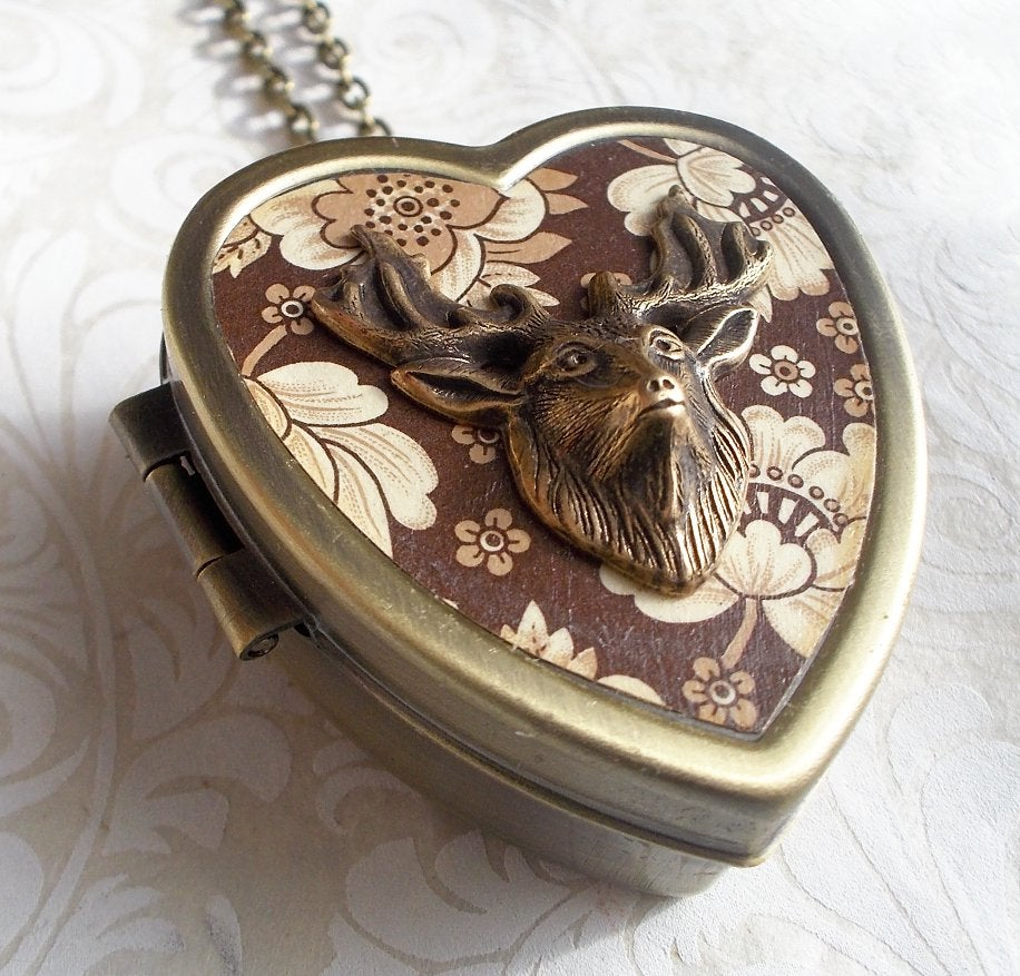 Image of Woodland Deer miniature music box locket - brown floral