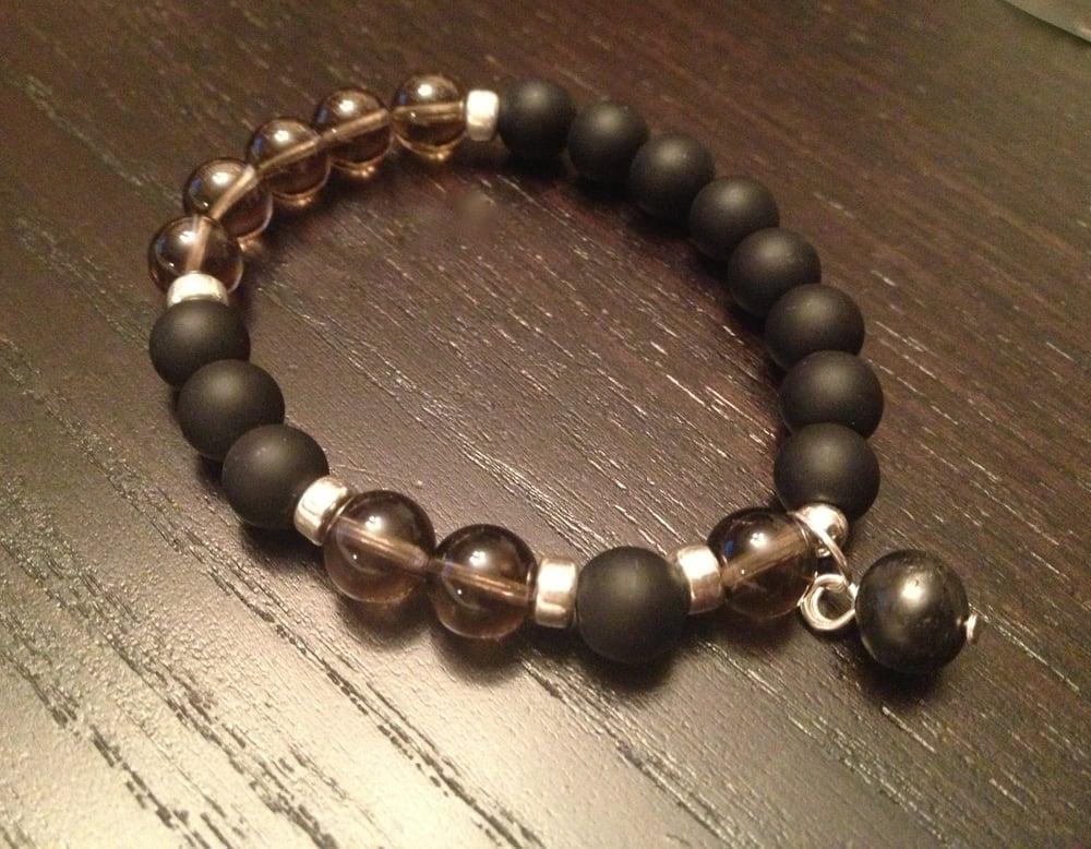 Image of Infinity Wrist Mala Smoky Quartz & Onyx