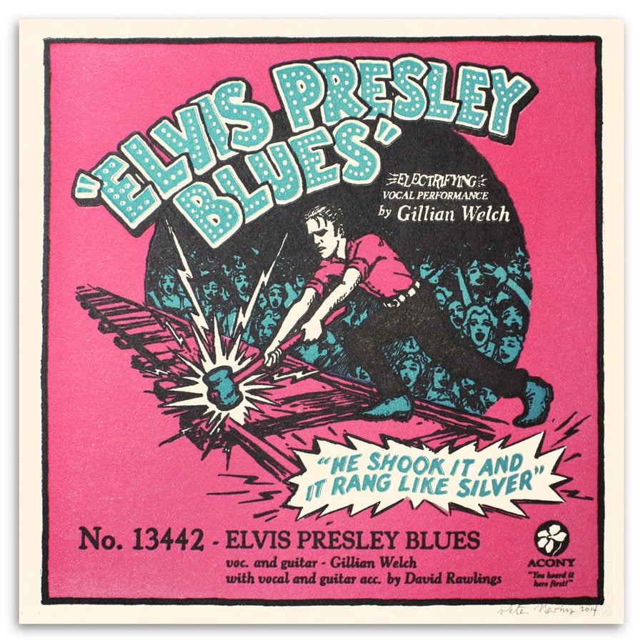 Image of Elvis Presley Blues - Official Acony Gillian Welch Songprint