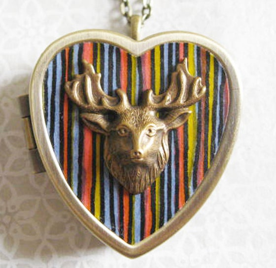 Image of Stag Musical Locket - black stripes
