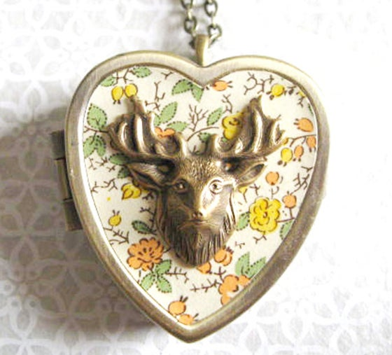 Image of Woodland Deer miniature music box locket - floral yellow