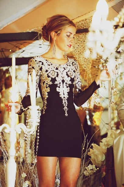 Image of Fashion Metallic embroidery Puff Sleeve Dress PO1017CG