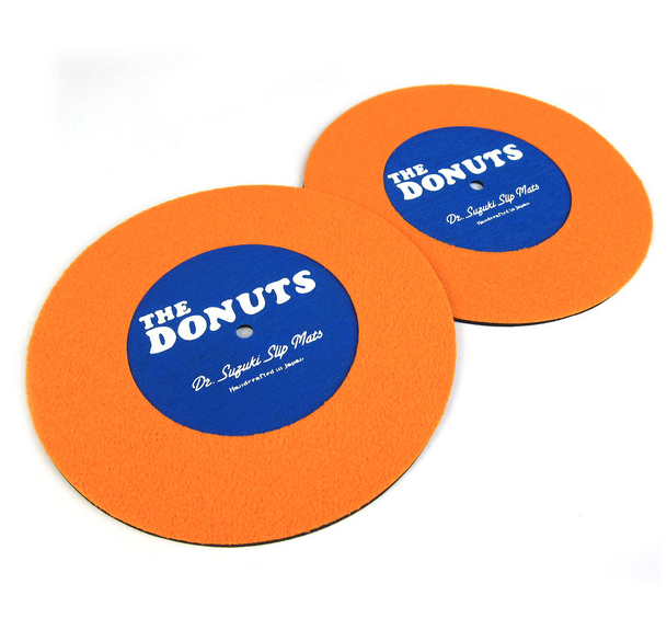 "Image of DR. SUZUKI THE DONUTS 7"" SLIPMATS - ORANGE/BLUE"