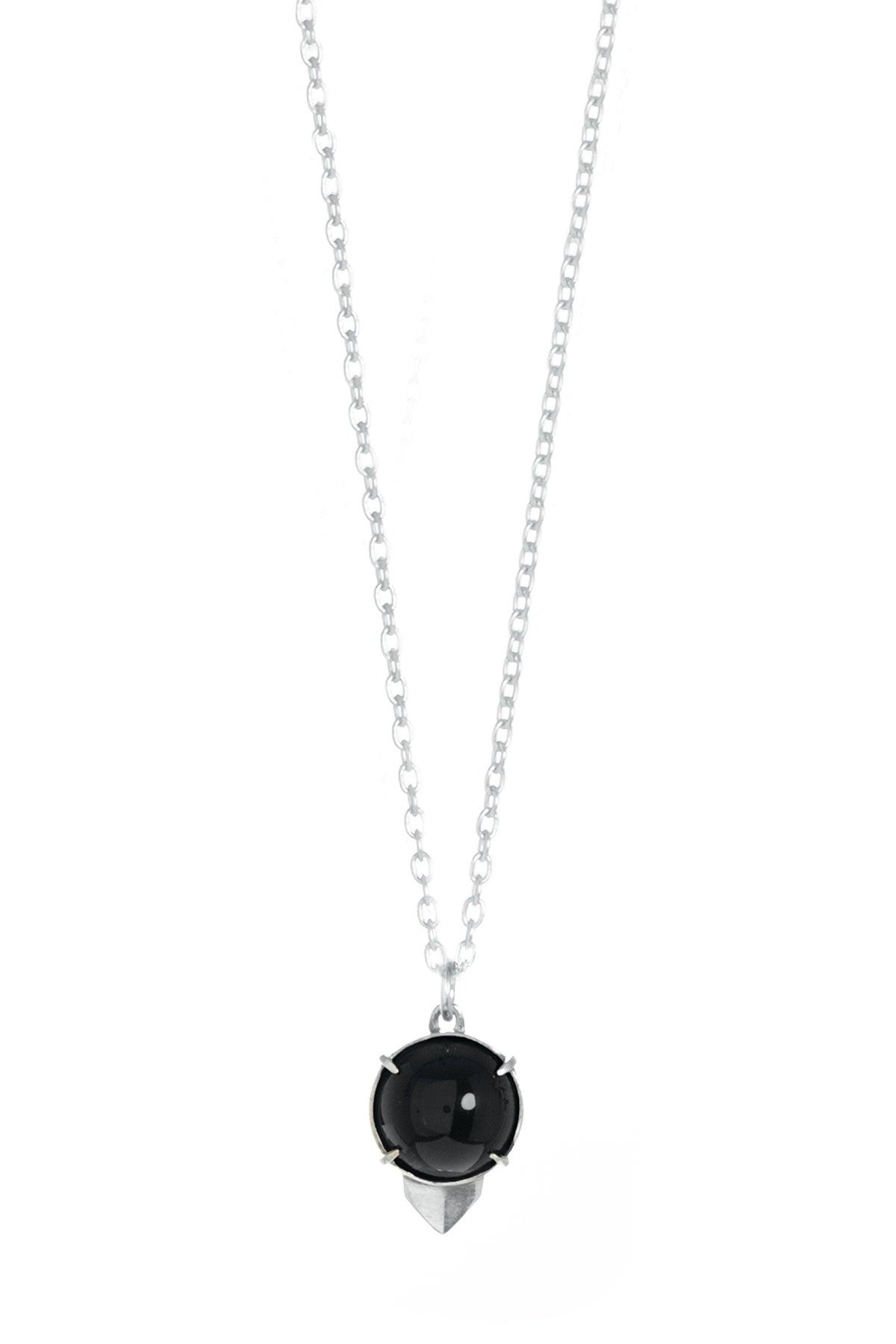 Image of ONYX OWL NECKLACE - SILVER