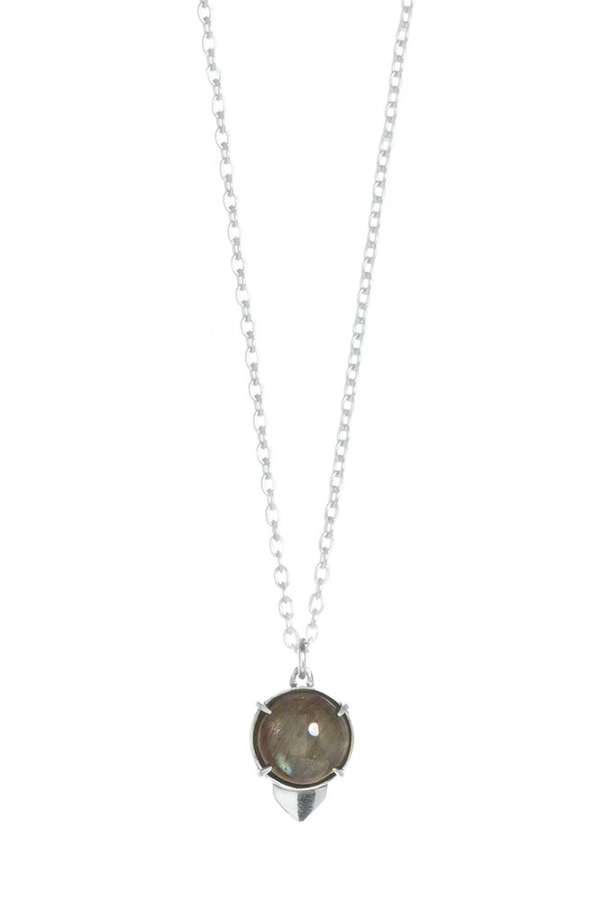 Image of LABRADORITE OWL NECKLACE - SILVER