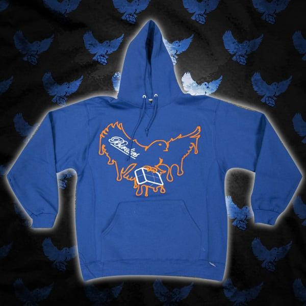 Image of Blue/Orange Dripping Birdies Hoodie
