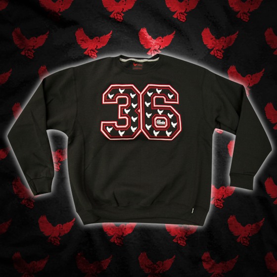 Image of Black/Red/White 36 Crewneck Sweater