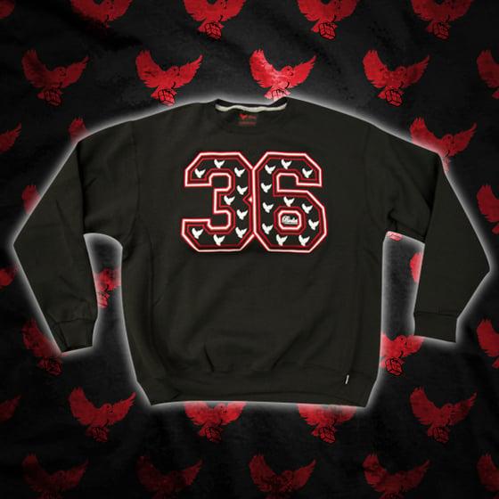 Image of Black/Red/White 36 Crewneck Sweater