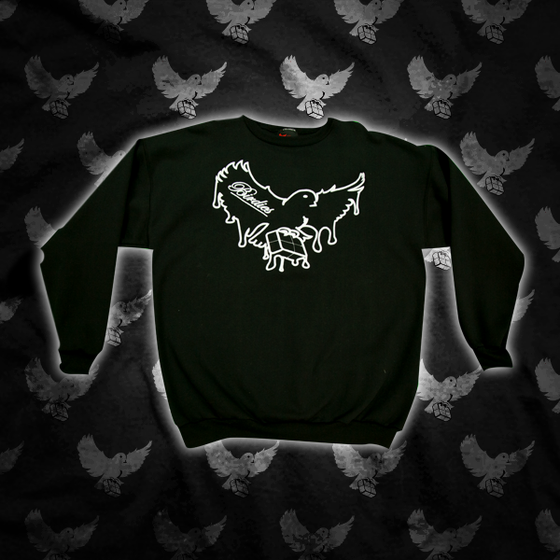 Image of Black/White Dripping Birdies Crewneck Sweater