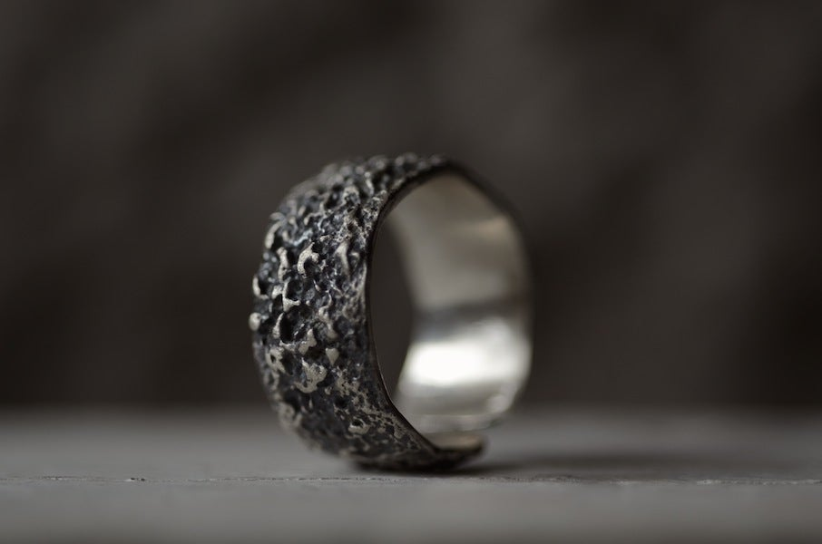Image of OXYDE - wide mens textured band. Wabisabi inspired