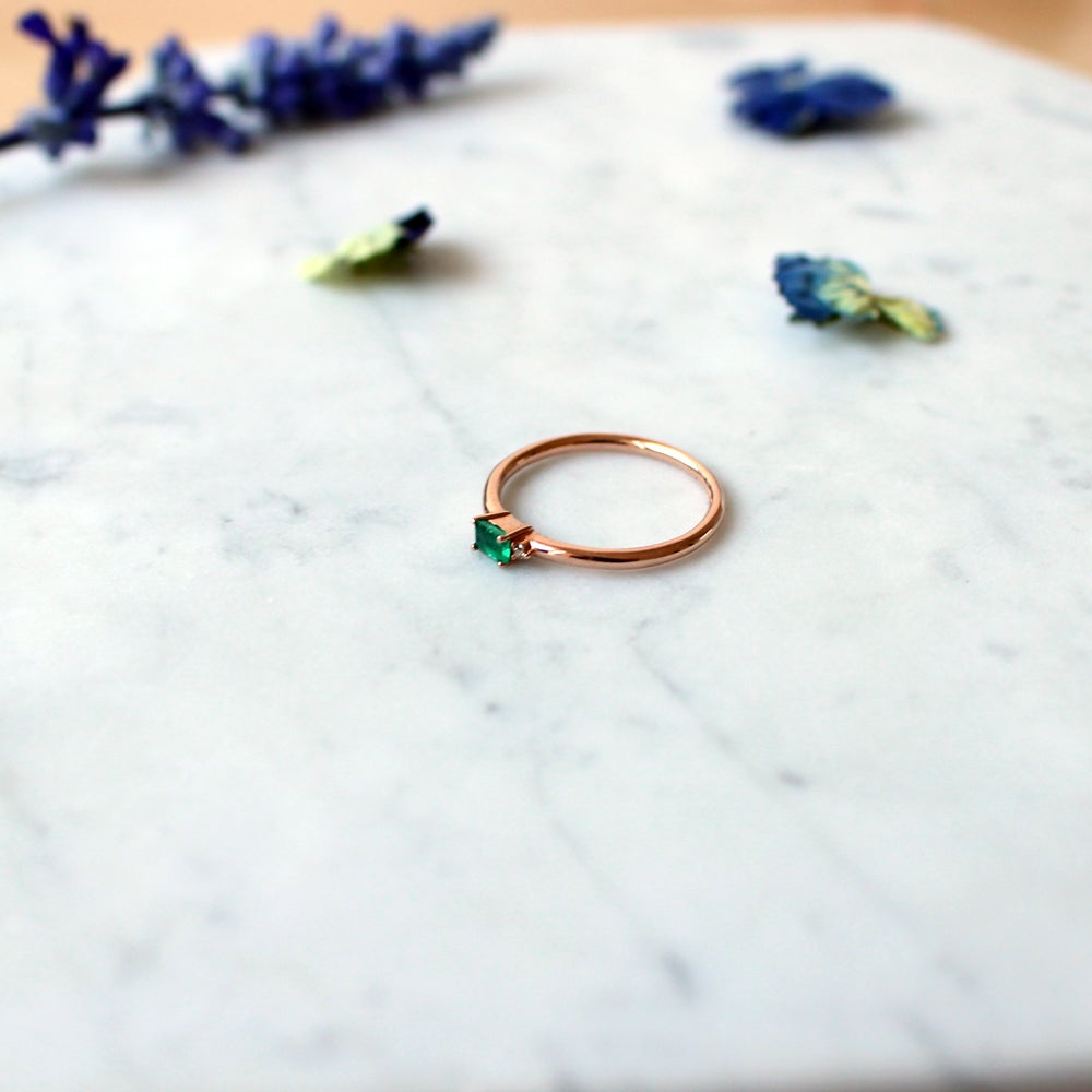 Image of Mini Sparkling Emerald Ring