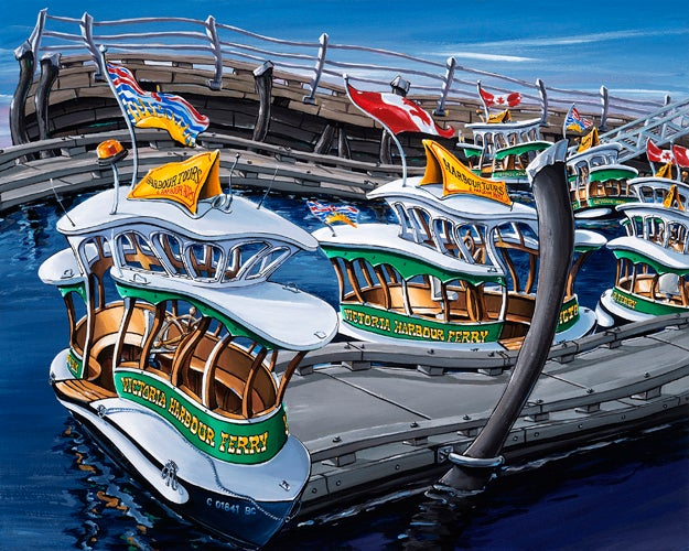 Image of Victoria Harbour Ferries 8x10 Block Mounted Print