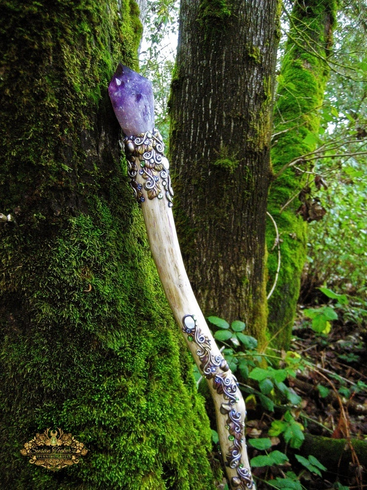 Image of AMARANTHINE DREAMS - Amethyst Quartz Crystal Magick Staff Moonstone Druid Wizard Witch Walking Stick