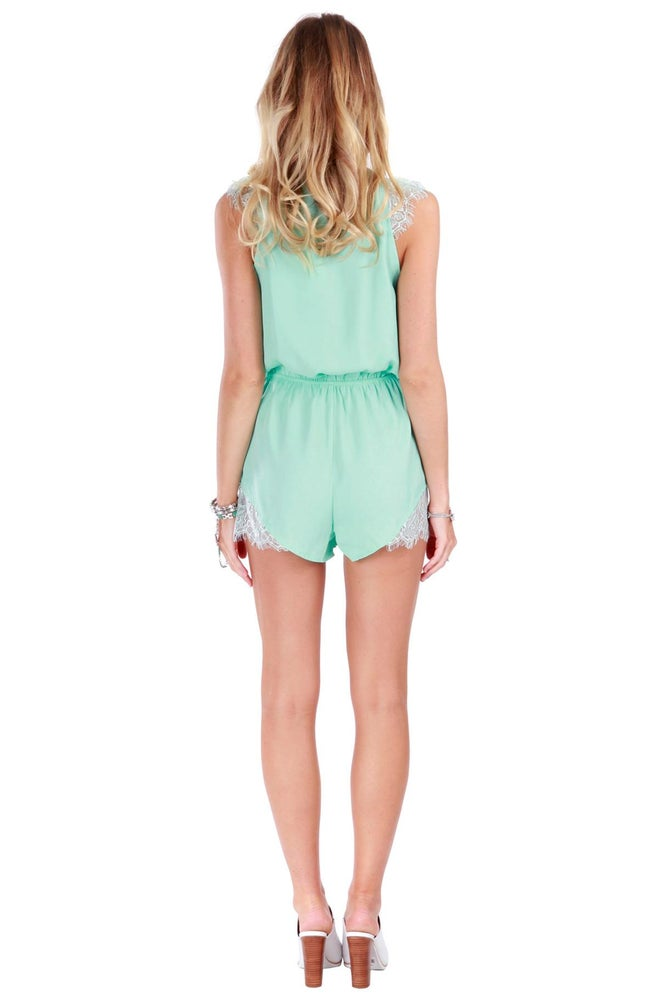 Image of  Complete Me Lace Romper - Mint