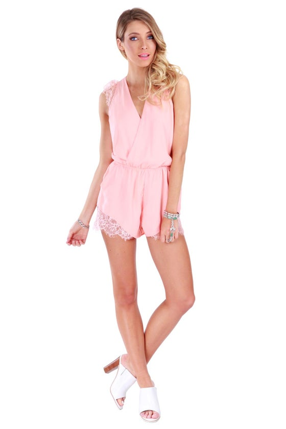 Image of Complete Me Lace Romper - Coral