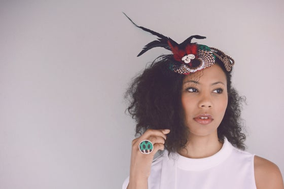 Image of Awa Ankara and Feather fascinator
