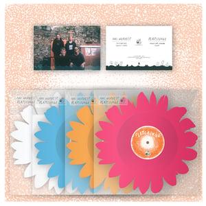 """Image of DK060: Nai Harvest / Playlounge - Flower Split 12"""" Shaped EP - Blue /350, Orange /500, Pink /500"""