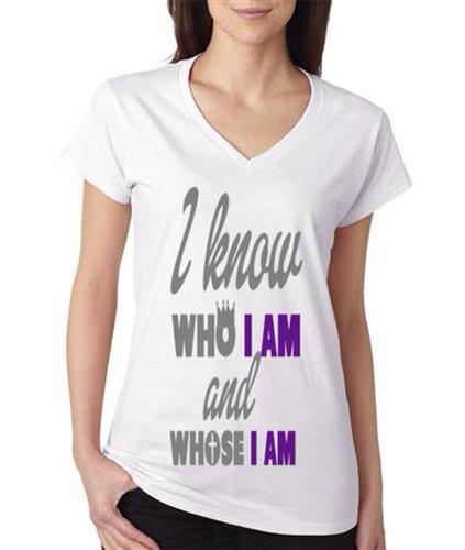Image of I know who I am - white vneck