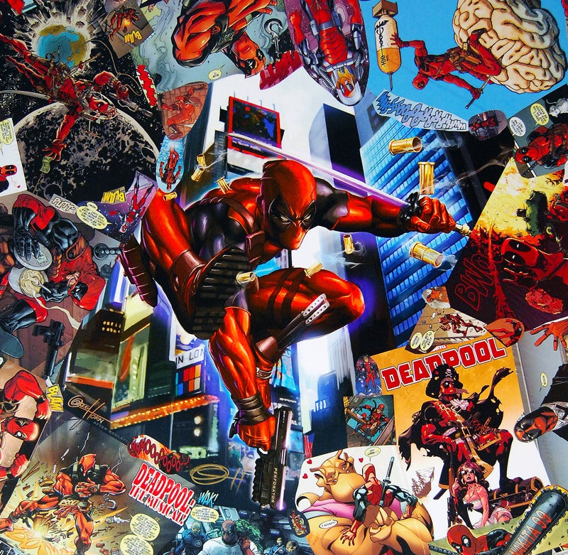 Image of Deadpool Comic Collage Table - Greg Horn Signed Variant