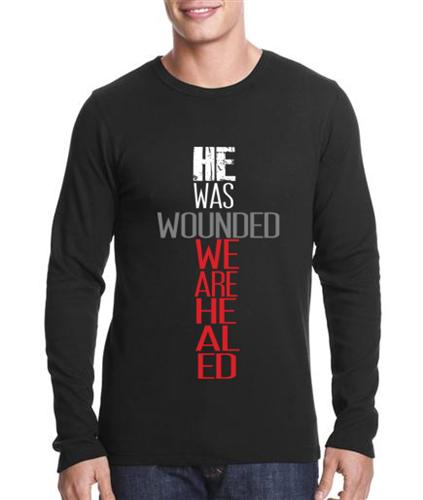 Image of He Was Wounded We Are Healed Men's thermal